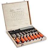 VonHaus 10 pc Premium Craftsman Woodworking Wood Chisel Set with Honing Guide, Sharpening Stone and Wooden Storage Case