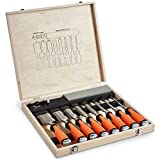 VonHaus 10 pc Premium Chisel Set for Woodworking with Honing Guide, Sharpening Stone and Wooden Storage Case